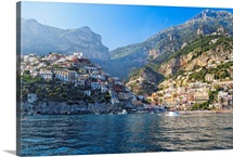 Coastal View of Positano from The Sea, Amalfi Coast, Campania, Italy