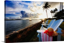 Hamilton Bay Sunset with Lounge Chairs, Bermuda