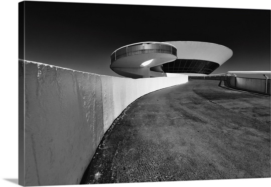 Low Angle Black and White Image of a Circular Shape Modern Build