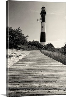 Low Angle View of the Fire Island Lighthouse with a Boardwalk, L