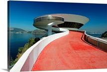 Low Angle View of the  the Contemporary Art Museum, Niteroi, Brazil