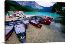Red Canoes at a Dock, Emerald Lake, British Columbia, Canada