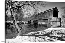 Side Frontal View of the Schofield Ford Bridge at Winter, Pennsy