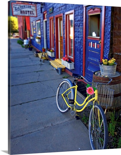 yellow bicycle silverton colorado photo canvas print great big canvas. Black Bedroom Furniture Sets. Home Design Ideas