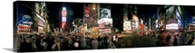 360 degree view of buildings lit up at night Times Square Manhattan New York City New York State