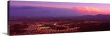 Aerial view of a city lit up at sunset, Phoenix, Maricopa County, Arizona,
