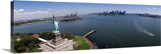 Aerial view of a statue, Statue of Liberty, New York City, New York State