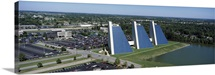 Aerial view of office buildings in a city The Pyramids College Park Indianapolis Marion County Indiana