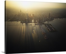 Aerial view of sunrise over a cityscape, Chicago, Illinois