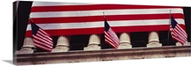 American flag on the front of a building, New York Stock Exchange, Manhattan, New York City, New York State