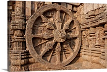 Architectural detail of stone carved chariot wheel in the temple, Sun Temple, India