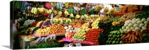 Assorted fruits and vegetables on a market stall, San Miguel De Allende, Guanajuato, Mexico