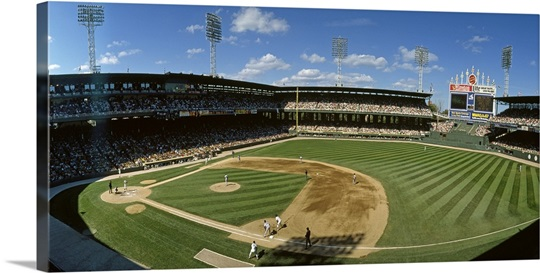 Baseball match in progress, U.S. Cellular Field, Chicago, Cook County, Illinois
