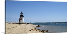 Beach with a lighthouse in the background, Brant Point Lighthouse, Nantucket, Massachusetts