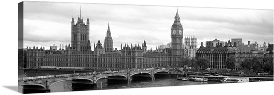 Bridge across a river, Westminster Bridge, Big Ben, Houses of Parliament, City Of Westminster, London, England