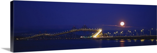 Bridge lit up at night, Richmond-San Rafael Bridge, San Rafael, California