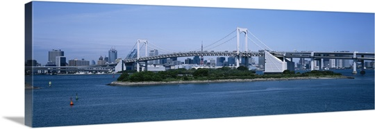 Bridge over a bay, Rainbow Bridge, Odaiba, Tokyo, Japan
