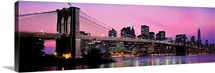 Brooklyn Bridge across the East River at dusk, Manhattan, New York City, New York State