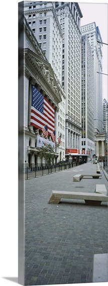Building along a road, New York Stock Exchange, Wall Street, Manhattan, New York City, New York State