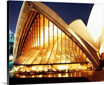 Building lit up at night, Sydney Opera House, Sydney, Australia