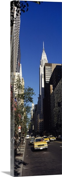Buildings along a road, Chrysler Building, Manhattan, New York City, New York State