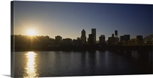 Buildings along the waterfront at sunset, Willamette River, Portland, Oregon