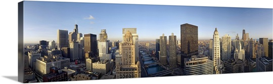 Buildings in a city, Lake Michigan, Chicago, Cook County, Illinois