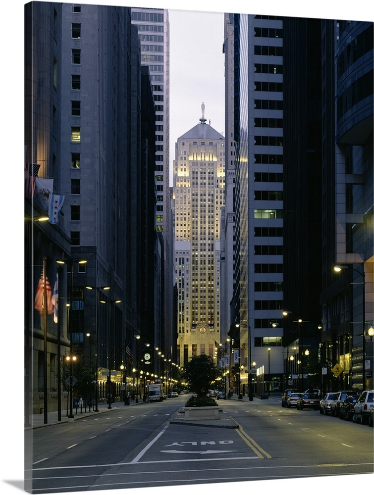 Thick Wrap Canvas Wall Art Entitled Buildings In A City LaSalle Street