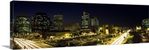 Buildings in a city lit up at night, Phoenix, Maricopa County, Arizona