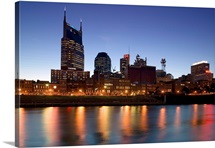 Buildings lit up at dusk at the waterfront, Cumberland River, Bell South Tower, Nashville, Tennessee