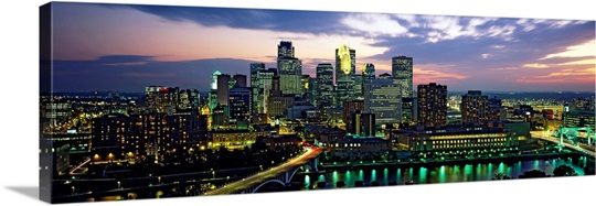 Buildings Lit Up At Dusk, Minneapolis, Minnesota