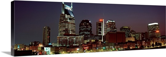 Buildings lit up at dusk, Nashville, Tennessee