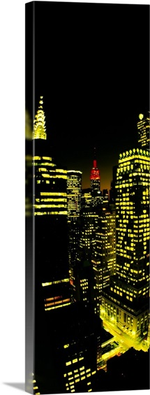 Buildings lit up at night, Empire State Building, Chrysler Building, Manhattan, New York City, New York State