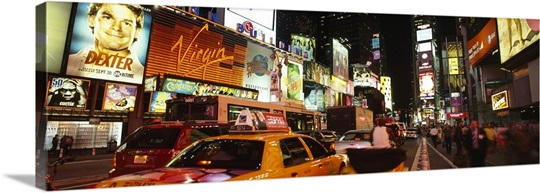 Buildings lit up at night in a city Broadway Times Square Midtown Manhattan Manhattan New York City New York State