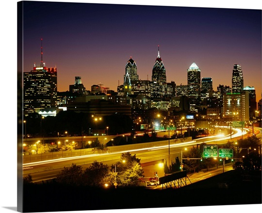 Buildings lit up at night, Philadelphia, Pennsylvania