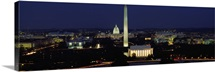 Buildings Lit Up At Night, Washington Monument, Washington DC, District Of Columbia