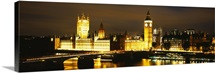 Buildings lit up at night, Westminster Bridge, Big Ben, Houses Of Parliament, Westminster, London, England