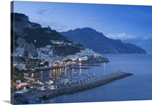Buildings lit up on a hillside, Amalfi Coast, Campania, Italy