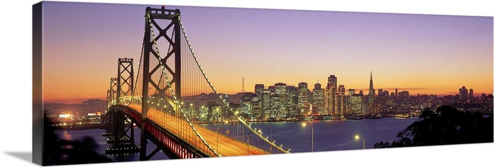 California, San Francisco, Bay Bridge, night