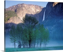California, Yosemite National Park, Waterfall falling from the mountain