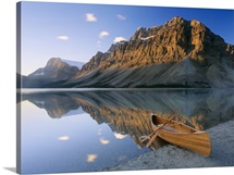 Canoe at the lakeside, Bow Lake, Alberta, Canada