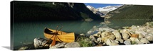 Canoe at the lakeside, Lake Louise, Banff National Park, Alberta, Canada