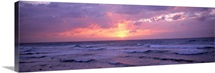 Cayman Islands, Grand Cayman, 7 Mile Beach, Caribbean Sea, Sunset over waves