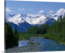 Chugach Mountains, running stream, summer, Alaska
