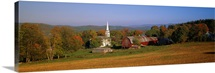 Church and a barn in a field, Peacham, Vermont