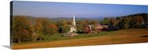 Church and a barn in a field, Peacham, Vermont