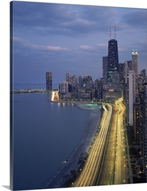 City at the waterfront, Lake Michigan, Chicago, Cook County, Illinois,