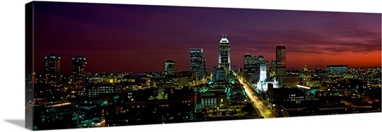 City lit up at night Indianapolis Marion County Indiana