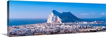City with a cliff in the background, Rock Of Gibraltar, Gibraltar, Spain