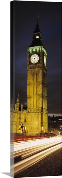 Clock tower lit up at night, Big Ben, Houses of Parliament, Palace of Westminster, City Of Westminster, London, England